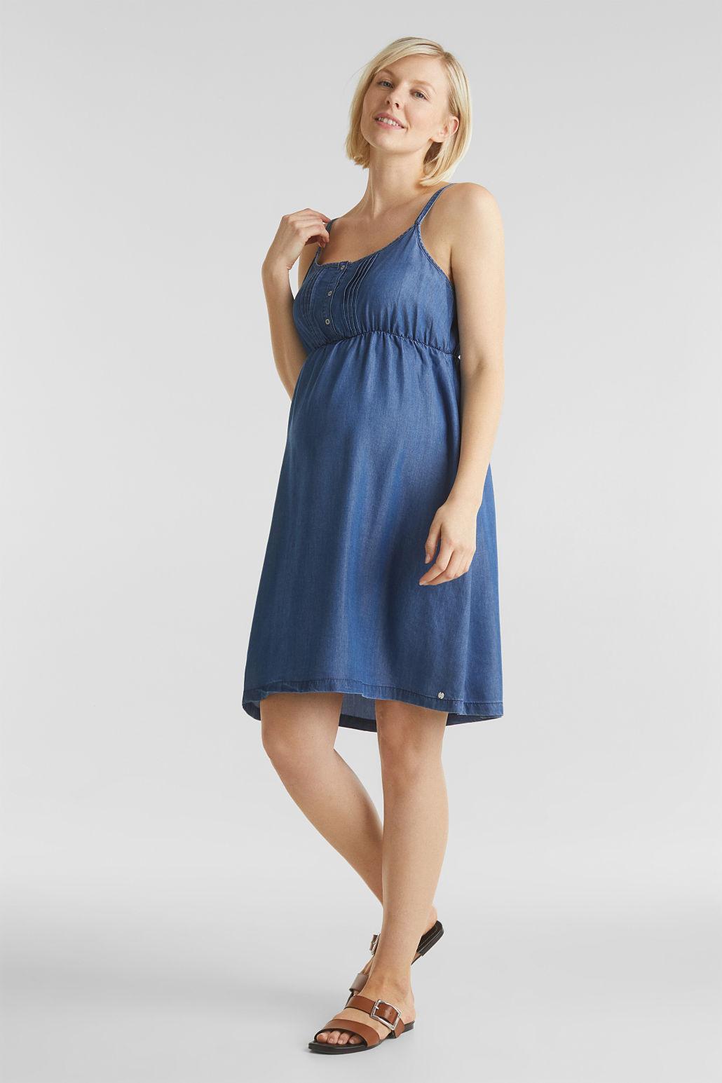 Дънкова рокля за бременни с презрамки